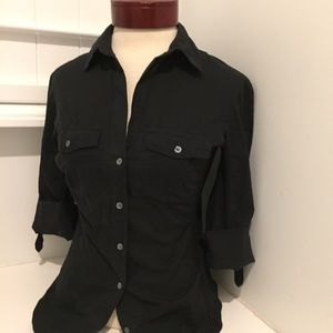 JAMES PERSE BLACK BUTTON DOWN 3/4 SLEEVE