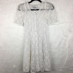 Vintage Amy Too! White Sheer Lace Corset Dress