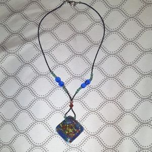 Jewelry - Beaded necklace with glass pendant
