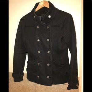 Black cotton pea coat by Iris basic size medium.
