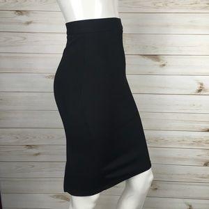 Topshop Black Ribbed High Waisted Pencil Skirt