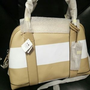 Brand new with tags coach bag Bleecker striped tan
