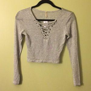 Light grey LF long sleeve crop top