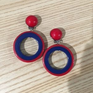 Red & Blue Acrylic Mod Clip On Hoops