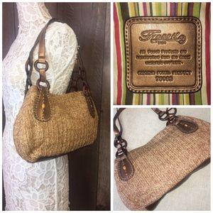 Fossil Woven Straw Shoulder Handbag Tote Purse | E