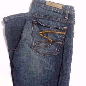 Seven7 Flare Dark Wash Jeans Logo Pocket Plus 32