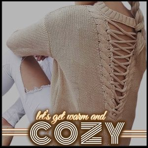 Cozy and Laced-Up Sweater