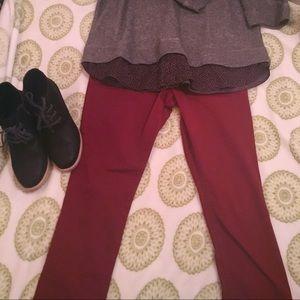 Express Burgundy Slim Pants