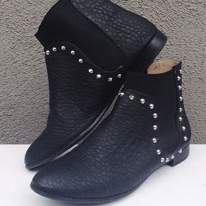 Zara leather studded ankle boots shoes booties