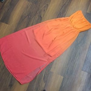 Orange-Pink Ombré Maxi Dress