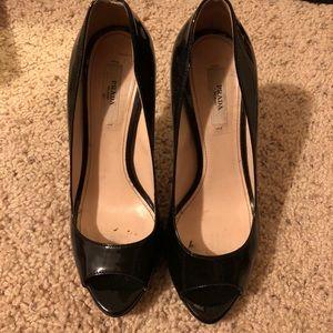 GUC Patent Leather Peep Toe Prada Heel