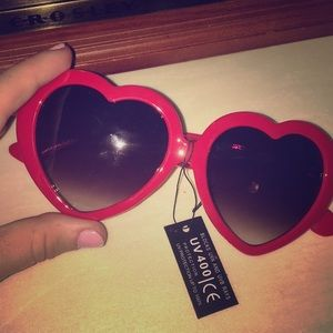 Red heart shaped sunglasses!