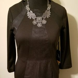 Leather Mixed Fabric Dress