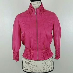 Cropped Fitted Faux Leather Jacket Sz Medium