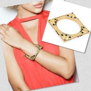 Jewelmint BAZAAR square bangle bracelet gold NEW