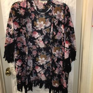 Gorgeous black floral Daniel Rainn kimono