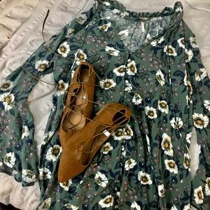 Free People Green Floral Tunic / Dress