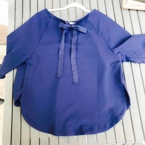 Gibson navy blue tie blouse