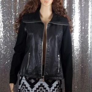 Alfani Zipper Long Sleeve Faux Leather/Knit Jacket
