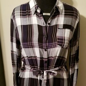 Belted Plaid Blouse