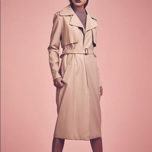 faux leather trench with raw edges