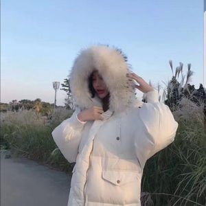 Oversized white down feather coat