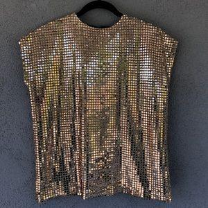 Vintage Gold Holiday Sequin Top Blouse NYE Med Lar