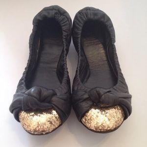 Tory Burch 8.5 Katie Flats Glitter Toe Bow Knot
