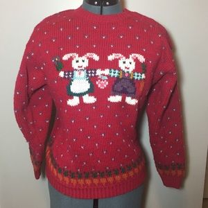 Vintage, hand embroidered bunny sweater