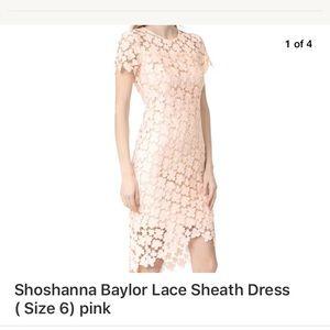 Shoshanna lace sheath floral, size 6, blush pink