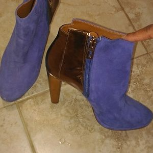 Schutz royal blue and metallic boots