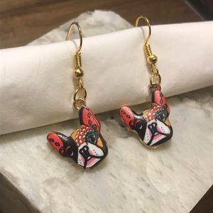 French bulldog designed embellished dog earrings