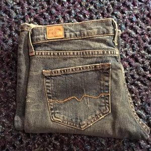 Red Engine Distressed Bootcut Stretch Jeans
