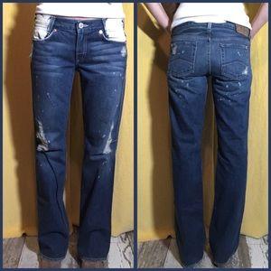 Armani Exchange Bleach Dark Wash Bootcut Jeans 6
