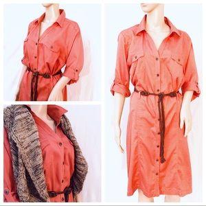 Sonoma Shirtdress w/belt - dusty pumpkin color L