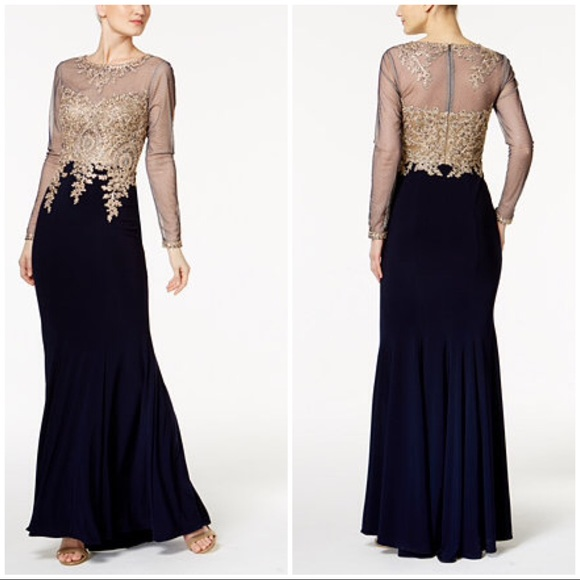 Xscape Dresses | Escape Embroidered Mesh Mermaid Gown Nwt | Poshmark