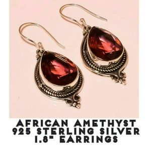 African Amethyst Gemstone Vintage Style Earrings
