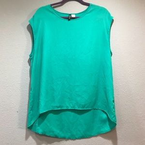 H&M Women's Short Sleeve Green Blouse Large