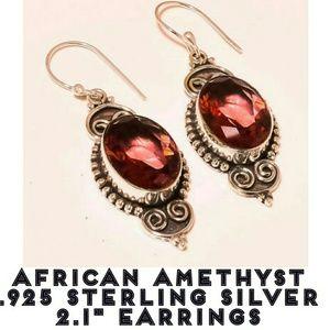 African Amethyst 925 Sterling Silver Earrings