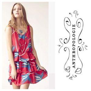 Anthropologie Sariah red silk print Dress  8