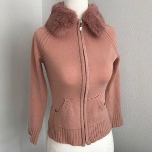 Bebe Pink cashmere cardigan w/removable rabbit fur