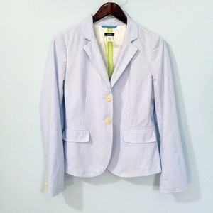 J. Crew Blue & White Striped Blazer size 8 Tall
