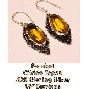Faceted Citrine Topaz Vintage Design Earrings