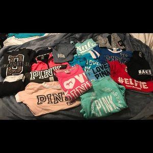 Bundle of vs pink shirts, tees, sweaters