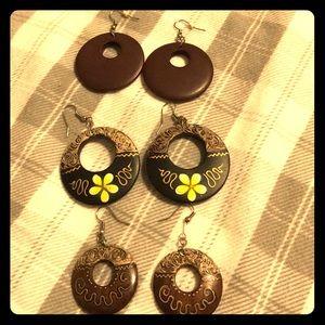 3 pairs Wood painted earrings