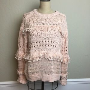 J.Crew multi patterned knit and fringe sweater