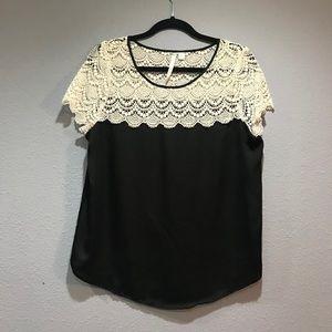 Black top with lace. Lauren Conrad