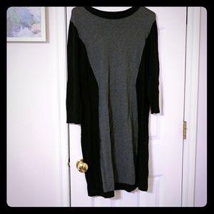 Long sleeve, knee length sweater dress