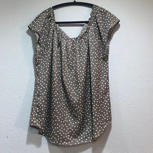 Grey polka dot blouse. Lauren Conrad