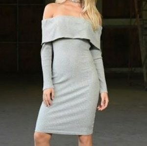 Offshoulder grey, white, or pink midi dress